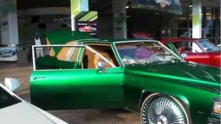 "CANDY GREEN CADILLAC COUPE DEVILLE ON 28"" DUB WITH VOGUE TIRES!! JAMMIN"