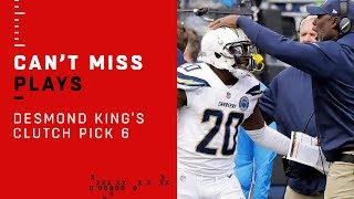 Desmond King's Clutch Pick 6 Extends Chargers Lead Over Seahawks