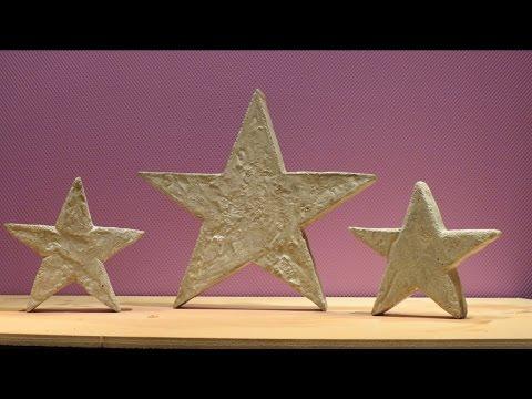 Dekoration . Deko Sterne aus Beton selber machen .