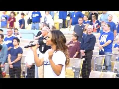 Los Angeles Dodgers: Christina Milian sings the National Anthem