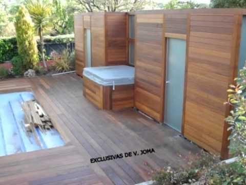 Realizacion de jardin en tarima tropical y porche de for Balancines de madera para jardin