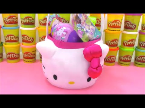 Giant Hello Kitty Surprise Egg Easter Basket With Disney Frozen Shopkins And More! video