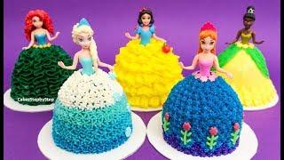 Princess Dolls Dress Mini Cakes - Anna Elsa Merida Tiana Snow White