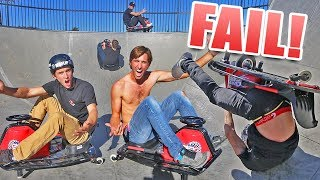 DRIFT CART RACE AT SKATEPARK! *crashed*