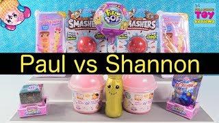 Pikmi Pops Season 2 Shopkins 10 Snackables Paul vs Shannon Challenge | PSToyReviews
