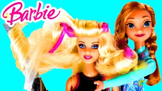 BARBIE Endless Curls With Disney Frozen Elsa's Sister Anna Doll From Straight To Curly In Seconds