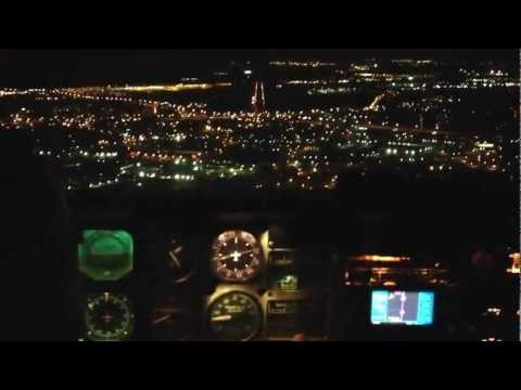night landing in Nashville International Airport - BNA