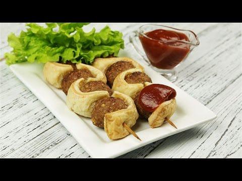 Шашлыки из фарша со слоеным тестом - Рецепты от Со Вкусом