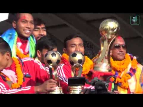 Nepali football team arrives home to heroes' welcome