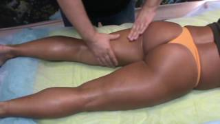 Anti-cellulite massage therapy, thighs.