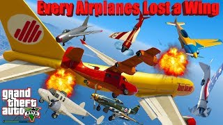 GTA V: New Updated Every Airplanes Lost a Wing Longer Crash and Fail Compilation (60FPS)