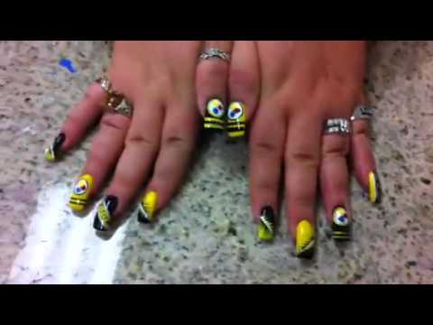 Steelers Acrylic Nails Steeler Nail
