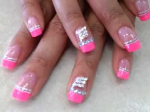 how pretty acrylic nail pink polish nails tips   youtube