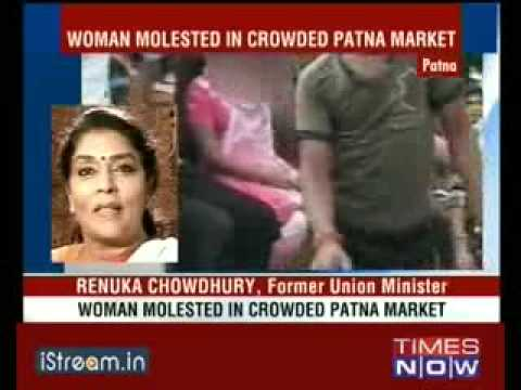 Shameless and coward Indian males strip and molster a girl in public - No one will save her