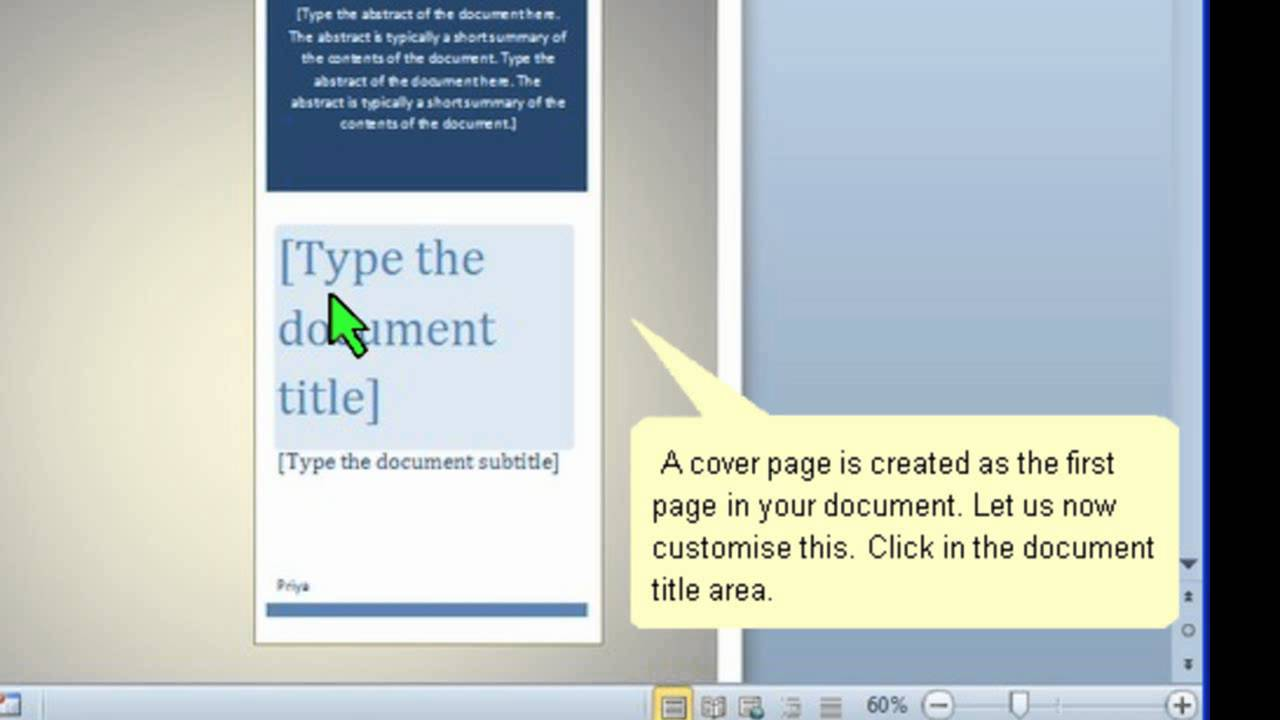 How To Create A Cover Page In Word 2010 Youtube