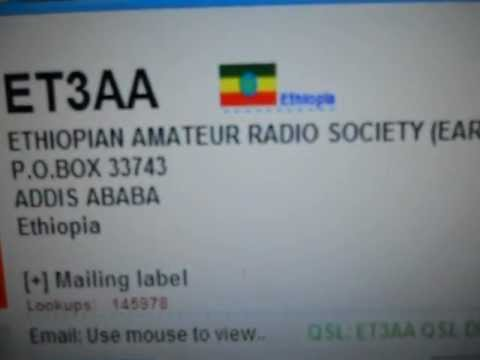 ET3AA - ETHIOPIAN AMATEUR RADIO SOCIETY- ETHIOPIA - 11:03 utc - 17-Nov-2012 - 15 meters band