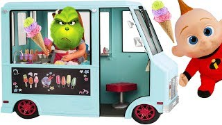 The Grinch Ice Cream Truck at Playground Park with Incredibles Baby Jack Jack and Wreck It Ralph