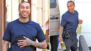 Tyga Gives The Paparazzi Champagne After He