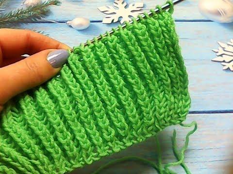Объемная резинка вязание спицами видеоурок