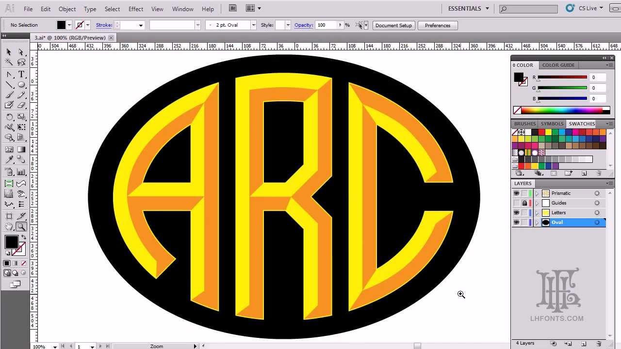 lhf monogram oval part 1  making 3d letters