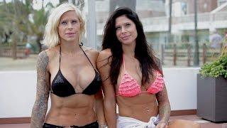 දෙන්නම එකම වගේ Surgery Obsessed Sisters Have Matching Modified Bodies