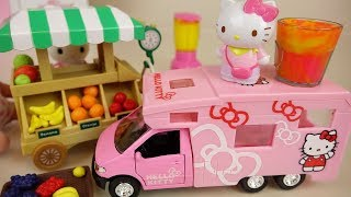 Hello Kitty camping car and baby doll fruit shop toys play