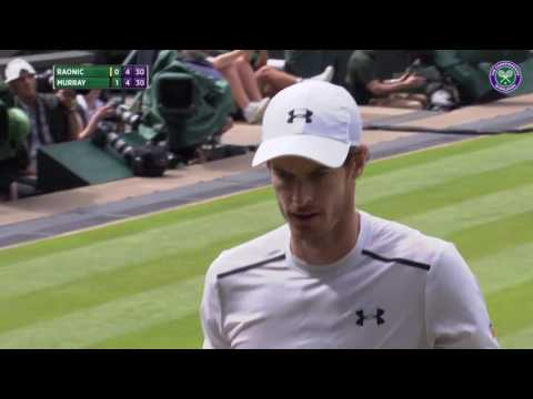 Murray wins point after returning 147mph serve from Raonic