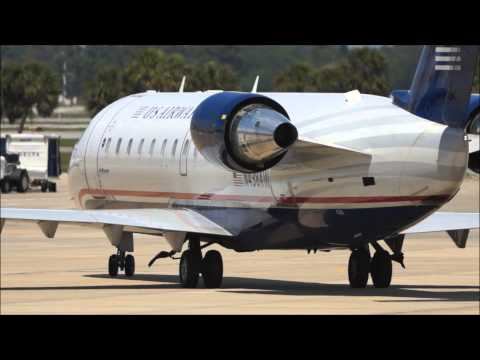 Us Airways Express CRJ-200 pushback, startup, and takeoff from Sarasota Airport
