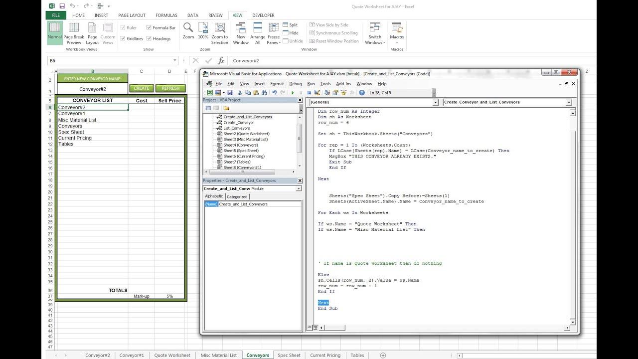 Create worksheets vba