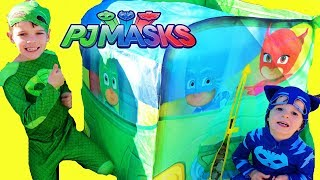 PJ Masks GIANT TENT Car with Owlette Catboy Gekko! Catboy drives the Huge Gekko Car