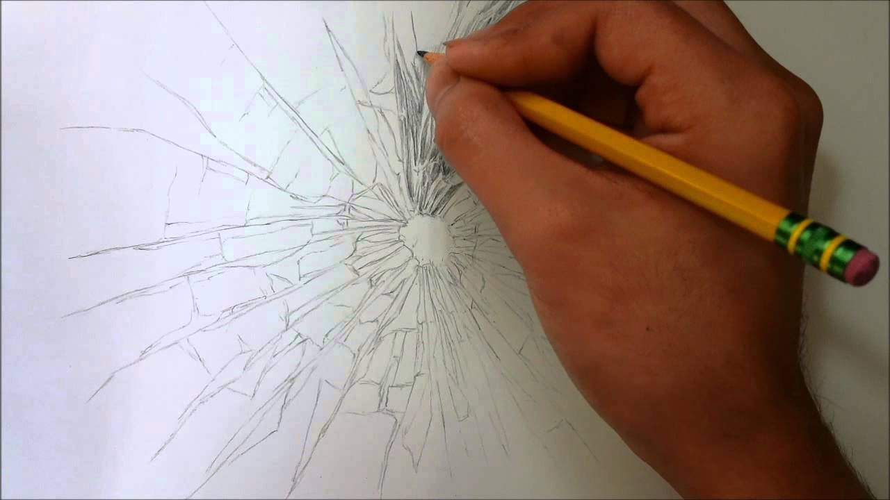 Cracked Glass Drawing Drawing Broken Glass