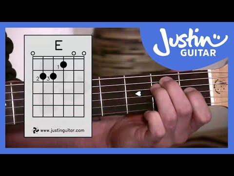 E Chord - Easy Third Guitar Chord - Beginner Guitar Lessons Stage 1 - JustinGuitar [BC-113]