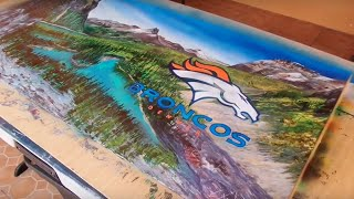Broncos super bowl 2016 spray paint