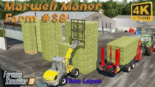 Making and collecting hay bales, harvesting sunflowers and corn | FS 19 | Marwell Manor Farm #38| 4K