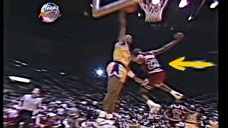 Byron Scott Dunks Over Michael Jordan! Lakers Fans Go Crazy!(1989)