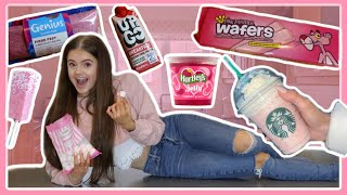 I ONLY ate PINK food for 24 Hours! || Ellie Louise