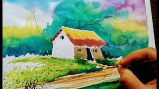 How to draw village scene in water color