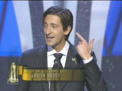Adrien Brody winning an Oscar for The Pianist