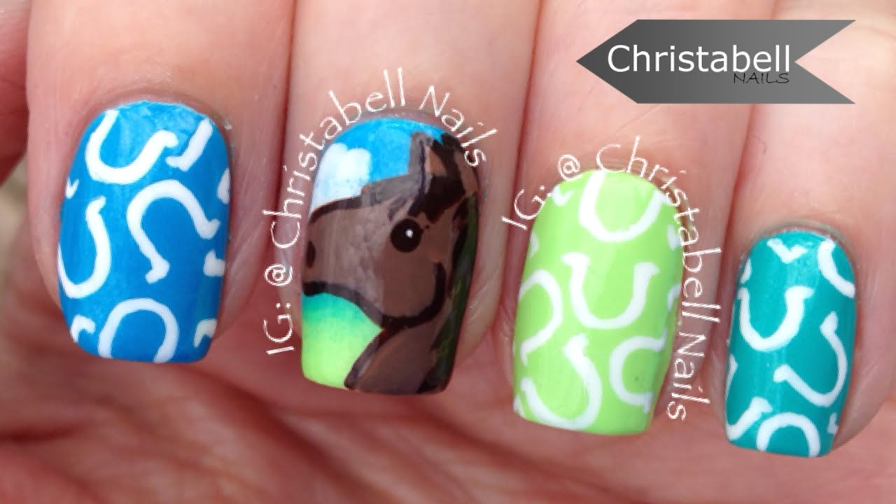 christabellnails horse and horseshoe nail art tutorial