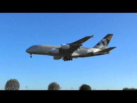 upload Etihad Airbus a380 a6apn from abu dhabi lands Heathrow 17Apr16 745a