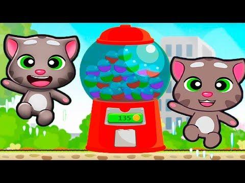 ГОВОРЯЩИЙ ТОМ минимульты ВКУСНАЯ БАШНЯ Тома #7 ДРУЗЬЯ! Игровой мультик   Talking Tom Cake Jump