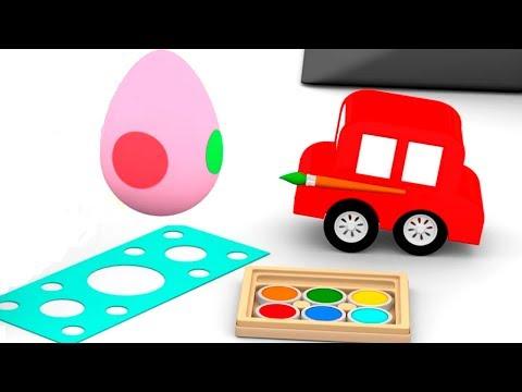 Мультфильмы для детей. 4 машинки раскрашивают яйца