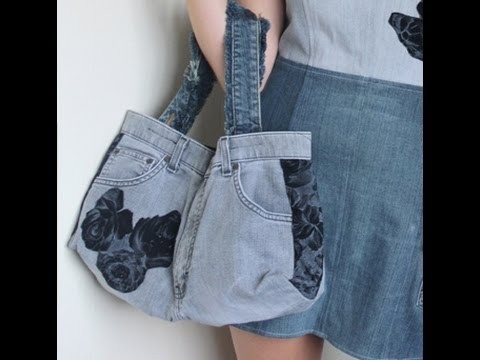 Recycled Jeans BAG (How to make a denim bag)
