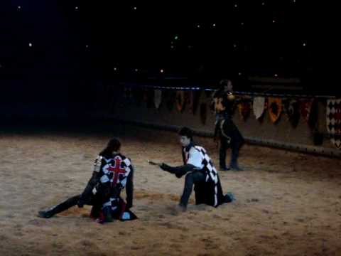 Medieval Times Green Knight VS Black + White knight  - - Fight till Death!!!