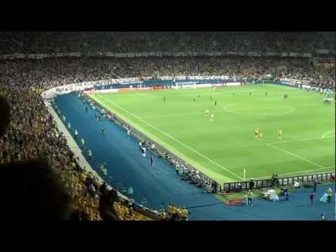 Swedish fans singing their national anthem, Sweden-England 15th June 2012