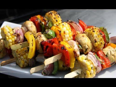 Grilled Caribbean Vegetarian Kebabs.