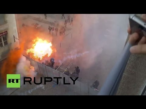 France: Fiery explosions send riot police running in Rennes