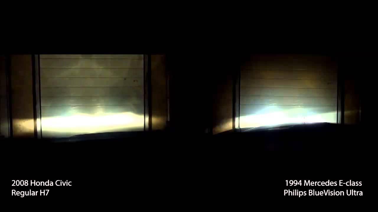 philips bluevision ultra vs regular halogen h7 bulb youtube. Black Bedroom Furniture Sets. Home Design Ideas