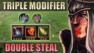 Triple Attack Modifier Silencer with Double Stats Steal [+114 Int & +75 Str] Dota 2 Ability Draft