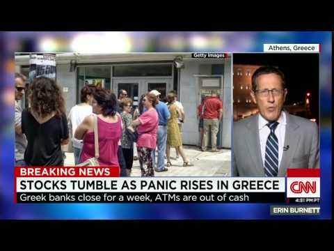 Stocks tumble as panic rises in Greece